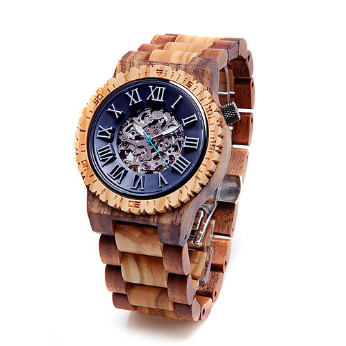 New Mechanical Round Men's Skeleton Wood Watch by EcVendor