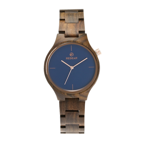 10pcs of Men Wooden Watches Luxury Black SandalWood Blue Dial Quartz Wristwatch