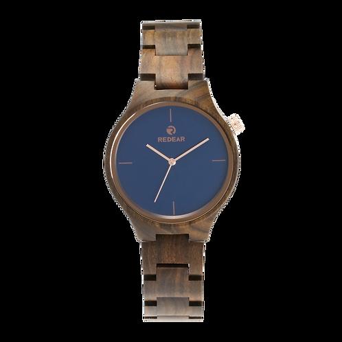 Men Wooden Watches Luxury Black SandalWood Blue Dial Quartz Wristwatch