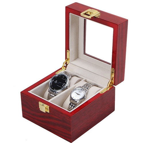 2 Grids Watch Display Box Red High Light Lacquer Wood Gift Box