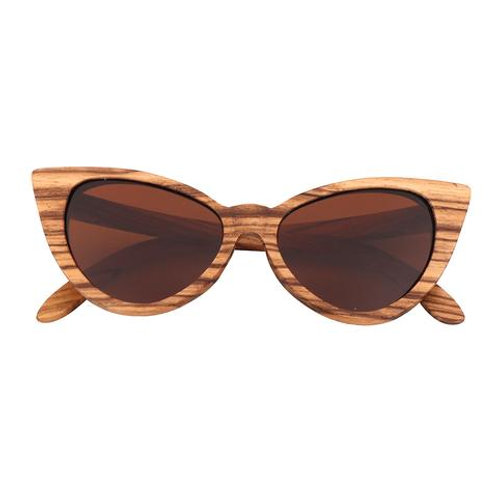 Lady  Sunglasses Polarized zebra Wood Mirror Lens Sun Glasses