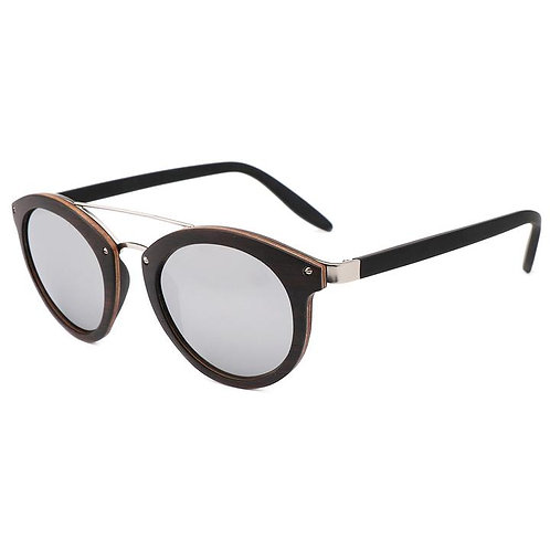 Lady Sunglasses Polarized Wood Sun Glasses Steel Mixed with Wood