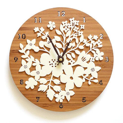 Bamboo Wood Wall Clock Flower Clock