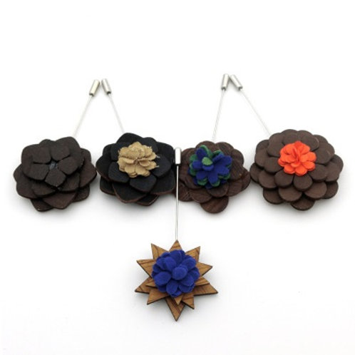 Handmade Wooden Prom Flower Boutonniere Brooch Pin Multi Color
