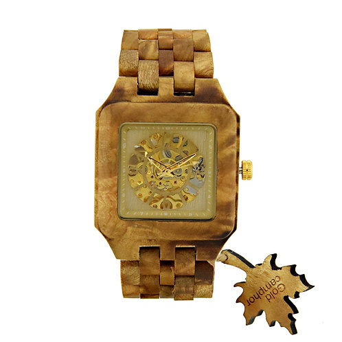 Men's Gold Watches wood Luxury Wooden Mechanical Watch Skeleton