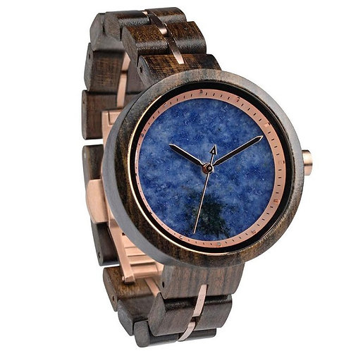 Unisex New Style Wood Watch Blue Face from EcVendor