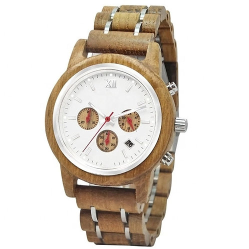 New Men Chronograph EcVendor Wood Wristwatch
