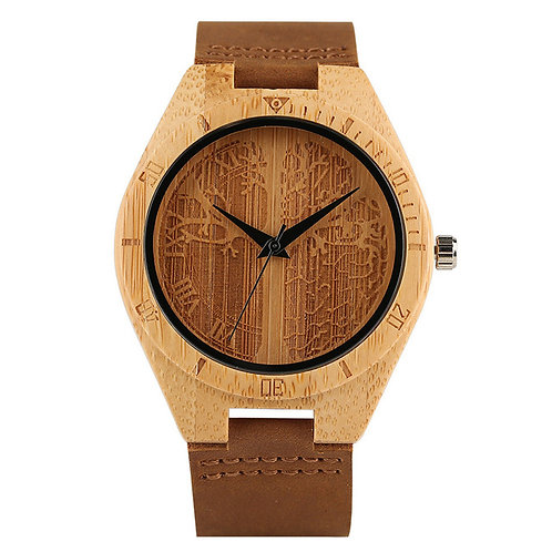 Trendy Bamboo Pattern Cool Leather Strap New Arrival Nature Wood Wristwatch