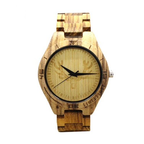 10pcs Men Deer Engraving  Zebra Wooden Watch Casual Quartz Watch EcVendor