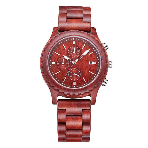 New Stainless Red Steel Back Chronograph Wooden Watch from EcVendor