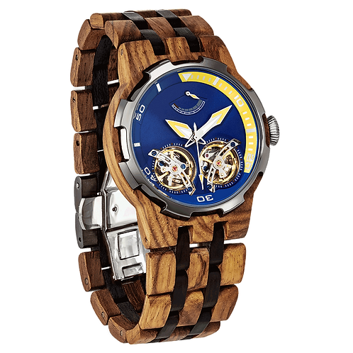 Men's Dual Wheel Automatic Zebra Wood Watchfrom EcVendor