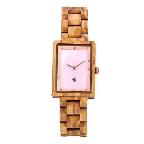 new pink face olive wood wooden watch wood lady square wristwatch EcVendor