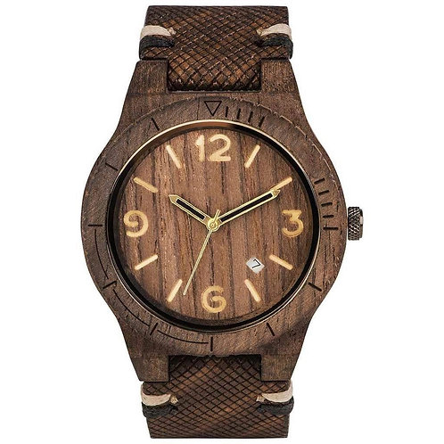 NEW BROWN LEATHER UNISEX WOODEN WATCH ECVENDOR