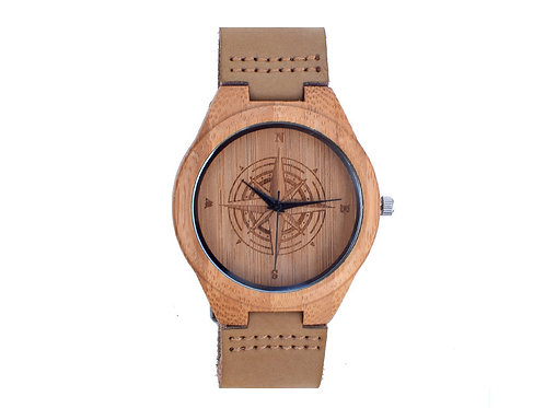 Compass Bamboo Wooden Watch Casual Wood Quartz Leather band EcVendor