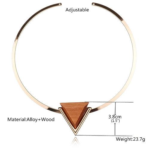 wholesale 10pcs Metal open necklace, female retro Wood Pendant, clavicle chain