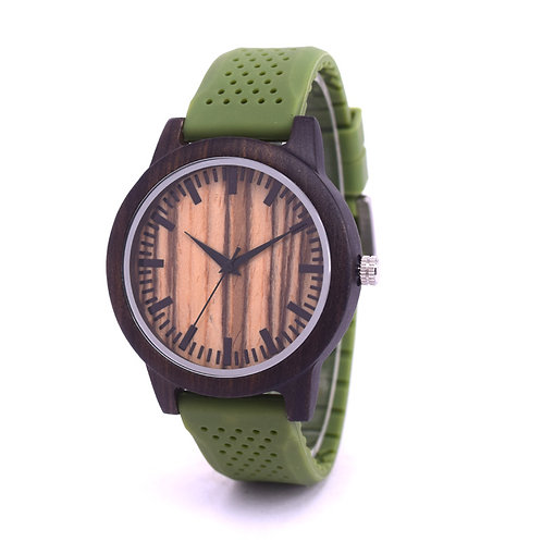 New Rubber Strap Men wood case Watch 100% Handicrafted Natural