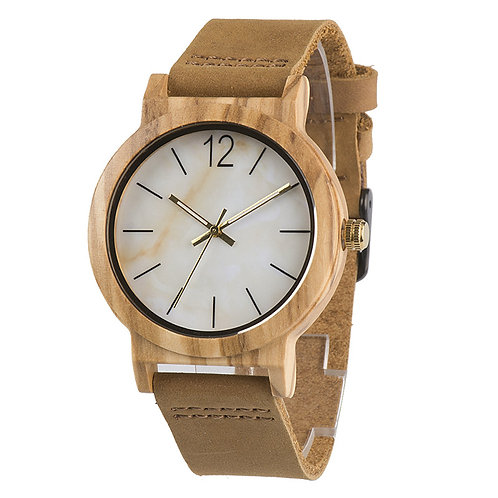 New EcVendor Wood leather Wristwatch Unisex timepiece