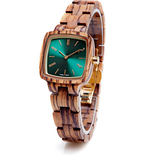 Square Shape Wood Lady Natural Wooden Watch from EcVendor