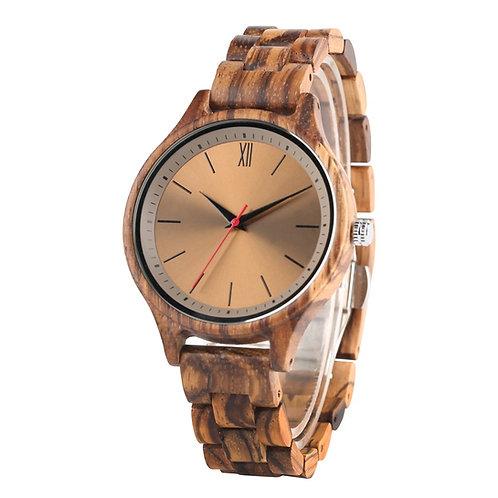 Retro Coffee Brown Zebra Wood Design Wooden Wristwatch Mens Quartz