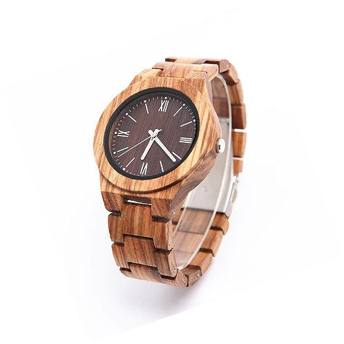 New Solid zebra Wood Watch for Men Wristwatches Minimalist Design from EcVendor