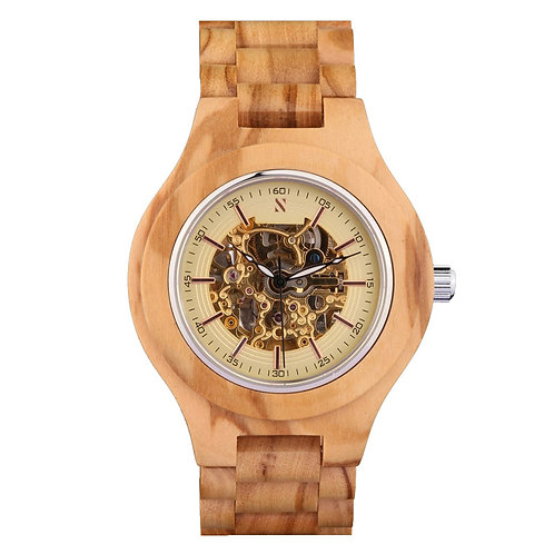 Olive wood Men Wristwatch Automatic Olive Wood design Watch from EcVendor