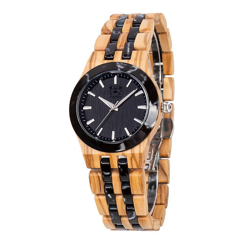 Ceramic Stone Italy Olivewood Natural Wooden Wristwatch from EcVendor