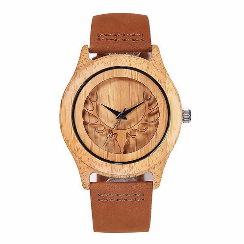 10pcs of Deer engraved Bamboo Wood Unisex Watch