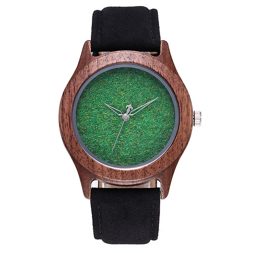 EcVendor Grass Style Dial Wood watch New Men Wooden Wristwatch