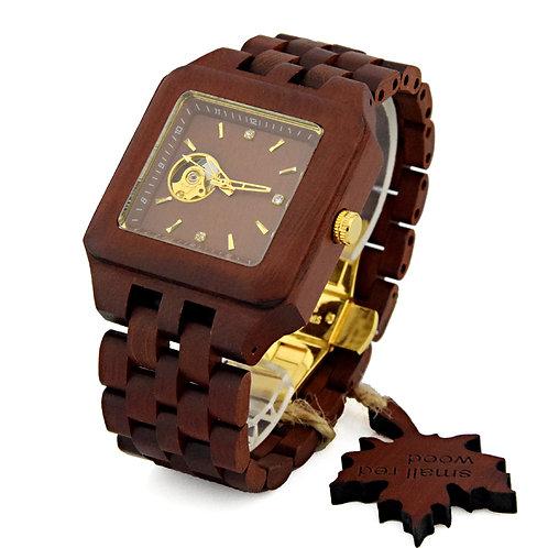 Men's Skeleton Watches wood Luxury Wooden Mechanical Watch