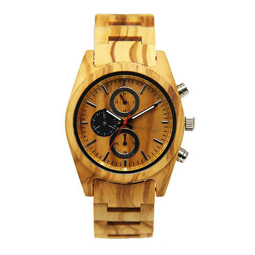 New Chronograph EcVendor ITALY Olivewood Wristwatch Wood Men Watch