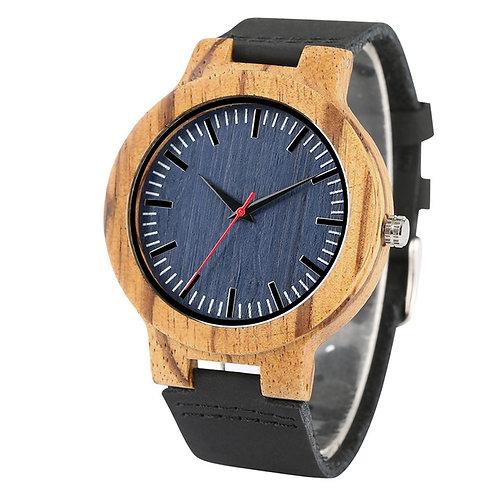Zebra wood blue face wristwatch,wooden watch from EcVendor