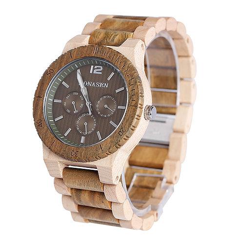 Wooden Watch Casual Wood Quartz Watch wood band week calandar Watch