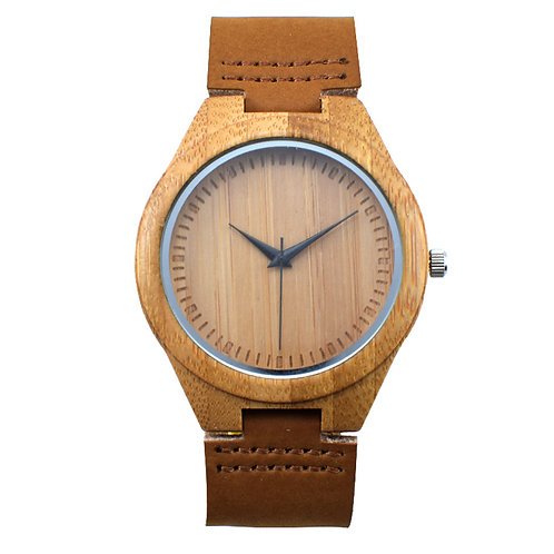 Bamboo Wooden Watch Casual Wood Quartz Watch Leather band EcVendor