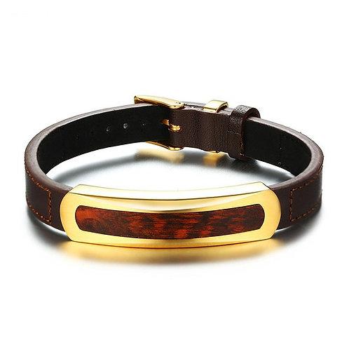 Men Bracelet Unique Snakewood Real Leather Bracelets Bangles Wood Wear
