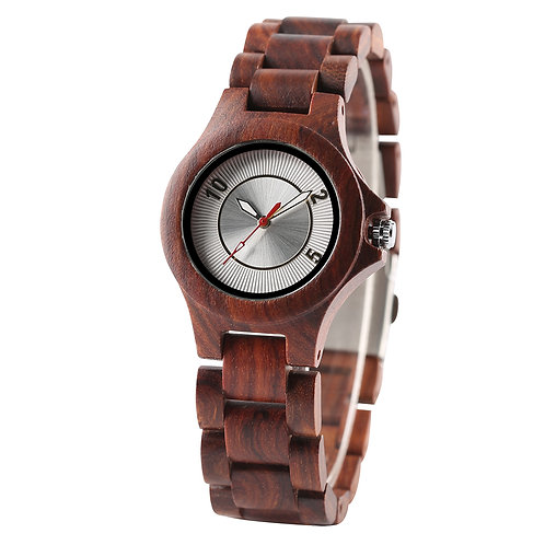 Red Sandal Wood Lady Wristwatch from EcVendor