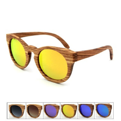 Unisex Fashion Eyewear Zebra Wooden Luxury Natural Sunglass