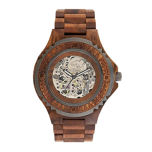 Red Wood Automatic Watch Skeleton eco Wear Wood watches Men wear from EcVendor