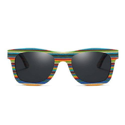 Colorful Wood Sunglasses Men Unisex Square Bamboo Eyewear from EcVendor