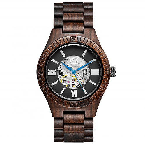 New Automatic Black Wood Watch Men wooden Wristwatch