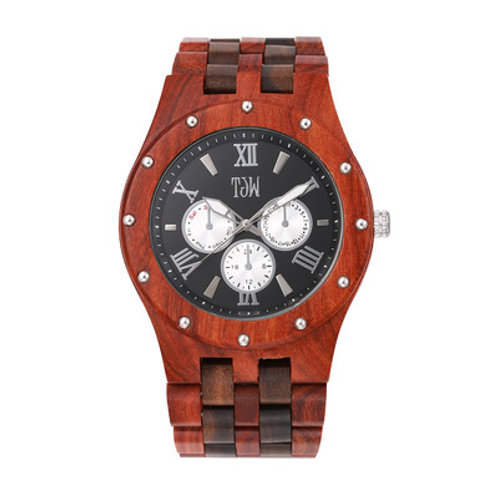 Wholesale 10pcs of Men Wooden Watches Luxury Red Sandalwood Quartz Wristwatch