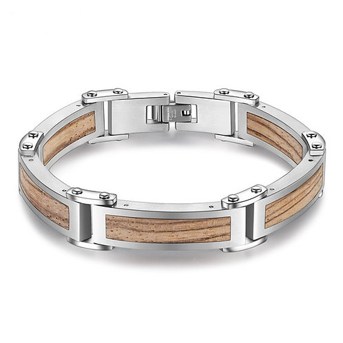 New Wood Men Bracelets Stainless Steel Jewelry Trendy Wristband Bangles For Male