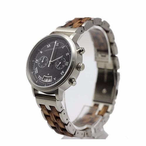 Zebra wood chronograph wristwatch,wooden watch from EcVendor