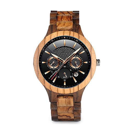 New 100% Natural Original Zebra Wood Watch Date Luxury Sport Nature EcVendor