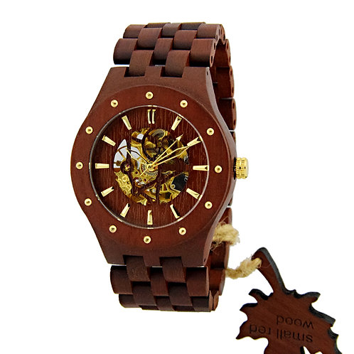 New Round Men's Skeleton WatchesBig face wood Luxury Wooden Mechanical Watch