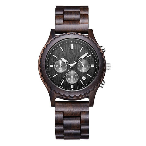 New Stainless Steel Back Chronograph Wooden Watch from EcVendor