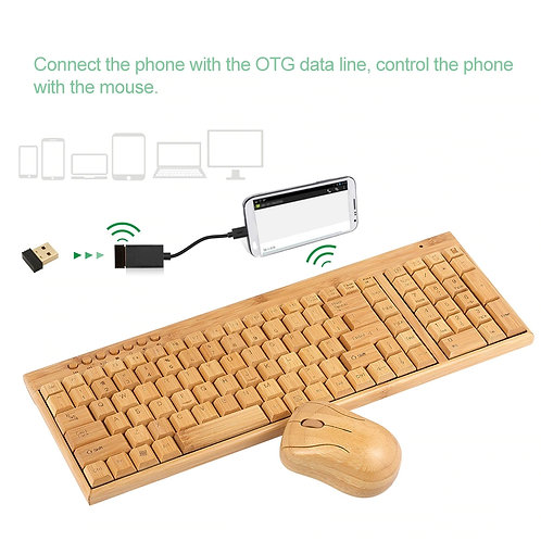 2.4G Wireless Bamboo PC Keyboard and Mouse Combo Combos Computer Keyboard Mice