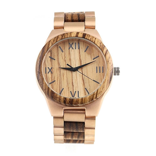 New Men Round Case Gold Stainless Steel Wooden Watch EcVendor