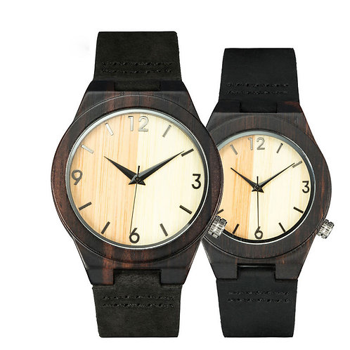 High Qulaity Black Leather Band Black Wood Couple Watches Wholesale EcVendor