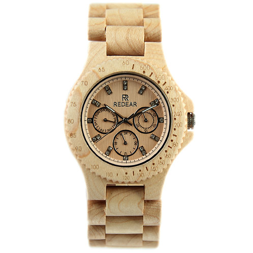 10pc of Women Natural SandalWood Sub Dial Mens Watches Relogio Masculino Genuine