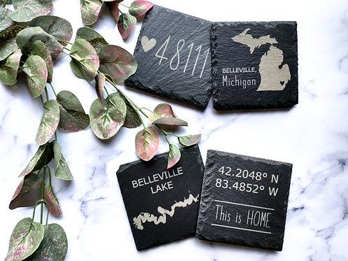 Slate/Wood Coasters (set of 4)